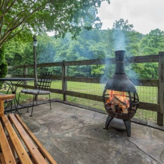 My Roundette has a chiminea - The Cove at Fairview Vacation Rentals - Asheville NC