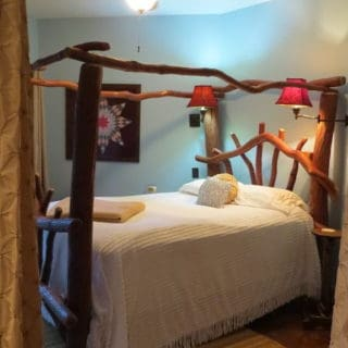 My Place features a handmade sassafras bed - The Cove at Fairview - Vacation Rentals- Asheville, North Carolina
