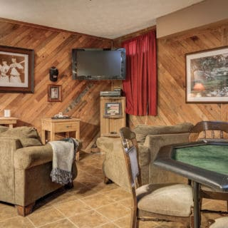 """40"""" HD TV in Basement Bedroom at Our House - The Cove at Fairview Vacation Rentals - Asheville NC"""